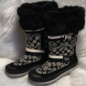 COACH Mariette Signature Fur Trimmed Snow Boots